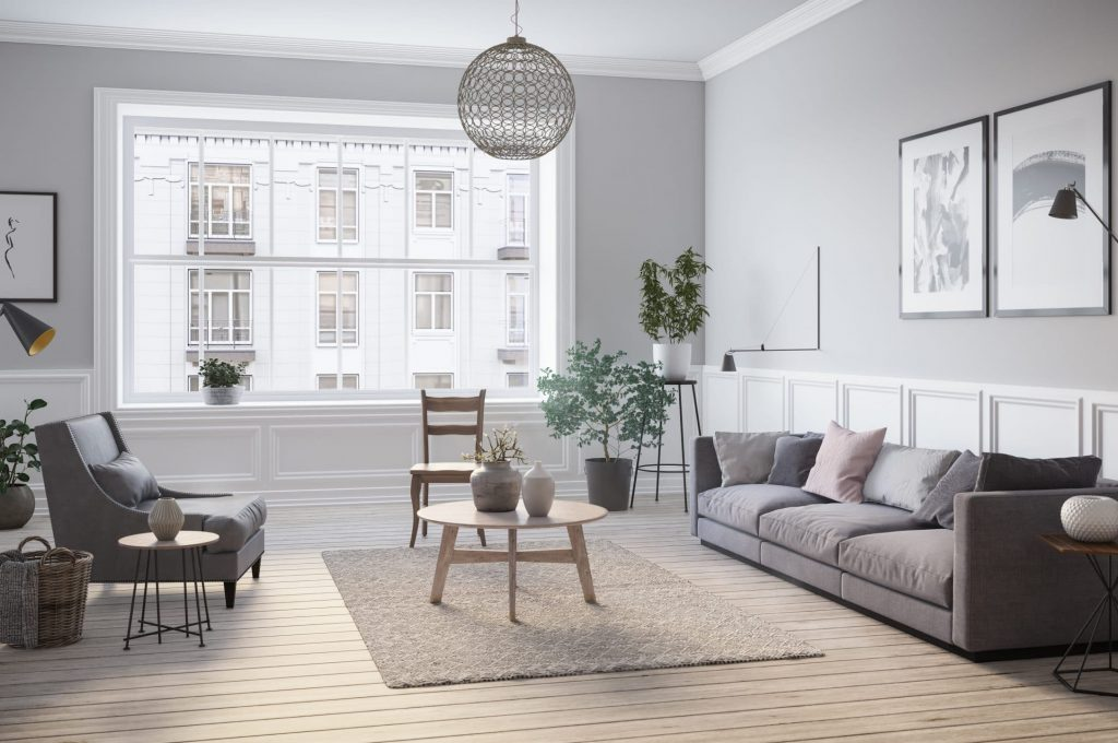 Scandinavian interior design living room 3d render with gary colored furniture